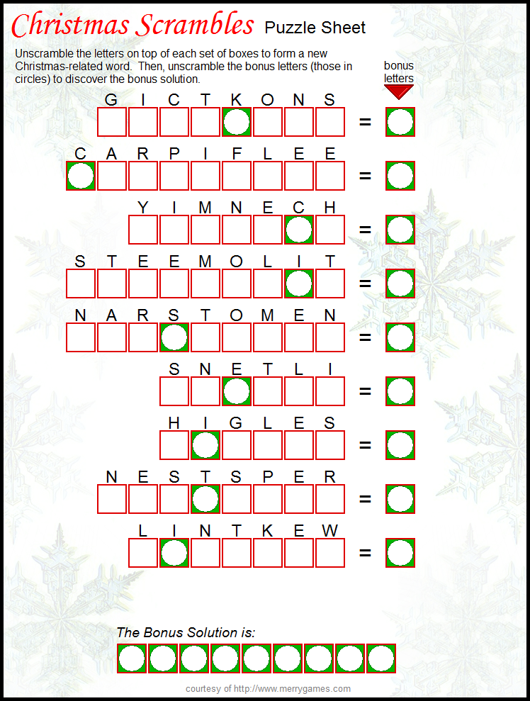 image about Free Printable Christmas Puzzles named No cost Printable Xmas Scramble - suitable getaway