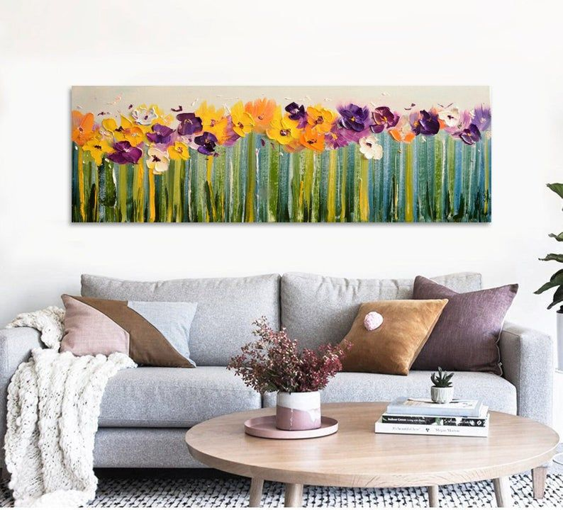 Narrow Horizontal Palette Knife Impasto Large Purple Abstract Etsy Flower Bedroom Large Wall Art Extra Large Wall Art