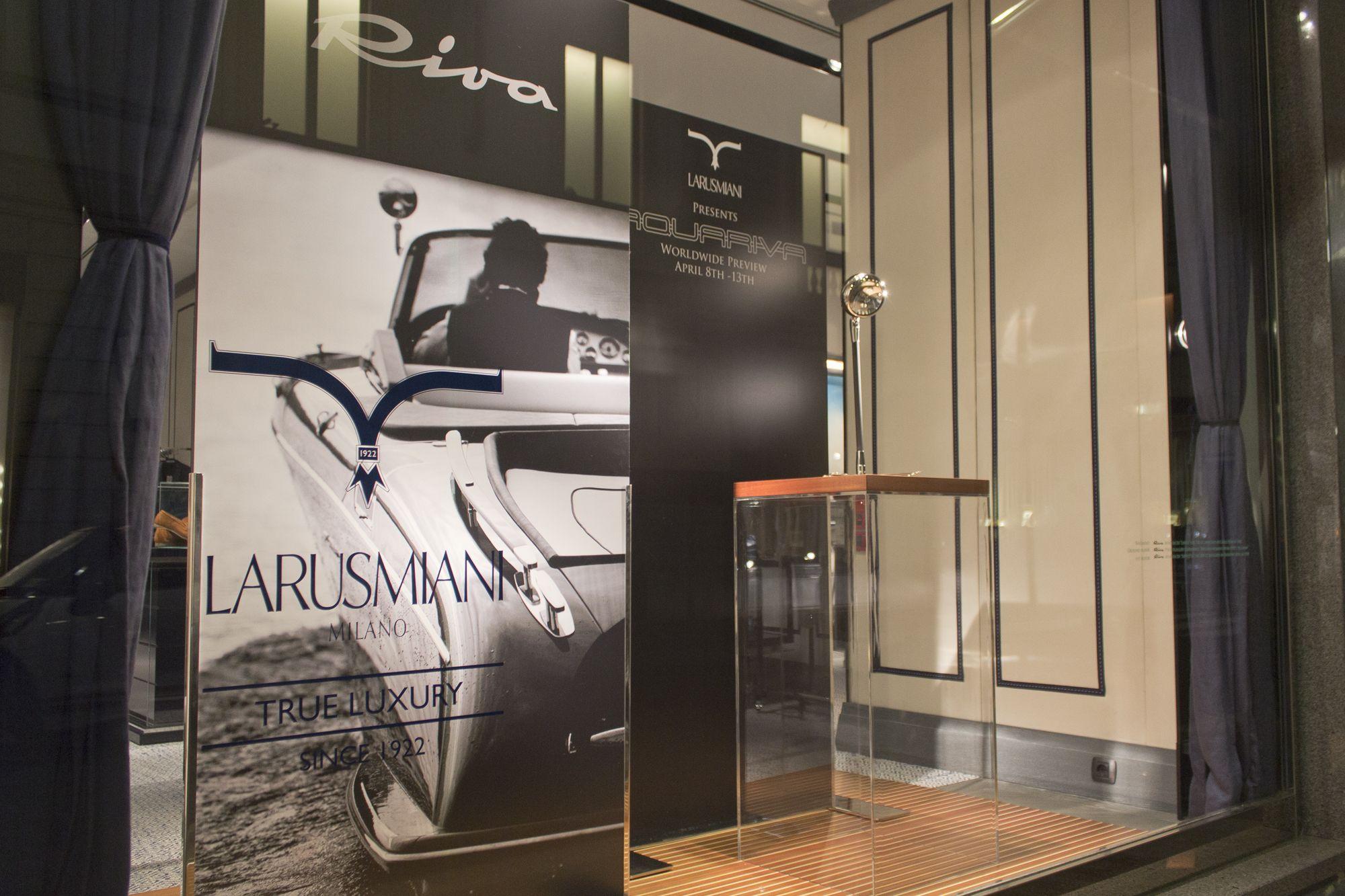 Larusmiani Concept Boutique – Worldwide Preview Aquariva 8th – 13th April #Larusmiani #rivayacht #fuorisalone #MilanDesignWeek #Aquariva @FerrettiGroup