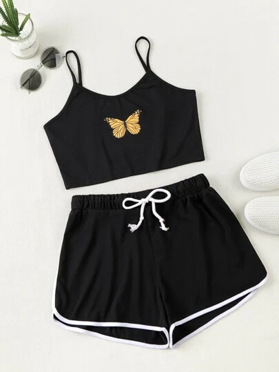Butterfly Print Cami Top & Drawstring Waist Dolphin Shorts – Otel