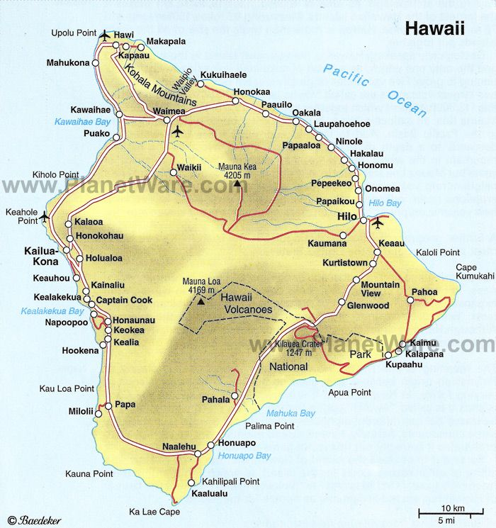 Hawaii Big Island Some Attractions Within Map Of The Big Island - Hawaii cities map