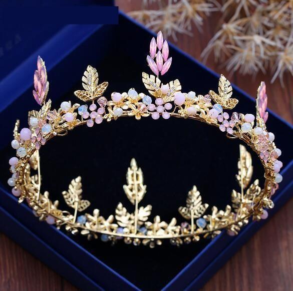 Gold Pink Hair Jewelry Women Handmade Crystal Wedding Crown Tiara Cosplay