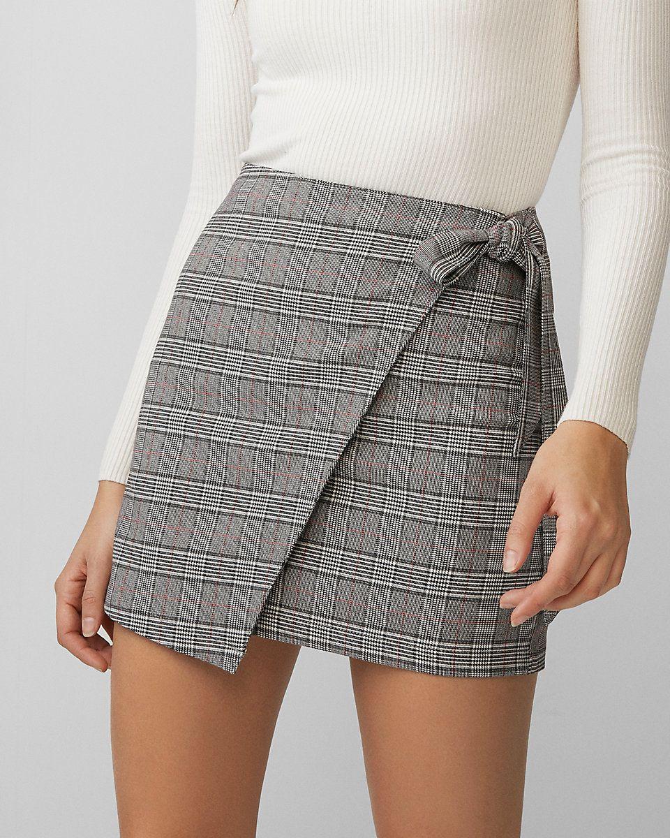 295192c491 Express: Plaid Wrap Tie Mini Skirt | fashion in 2019 | Fashion, Mini ...