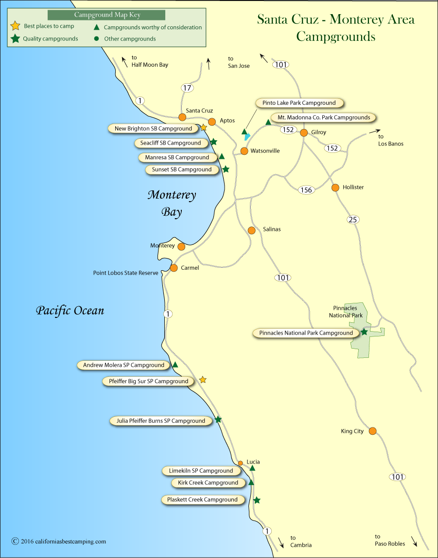 map of campground locations in Santa Cruz and Monterey counties