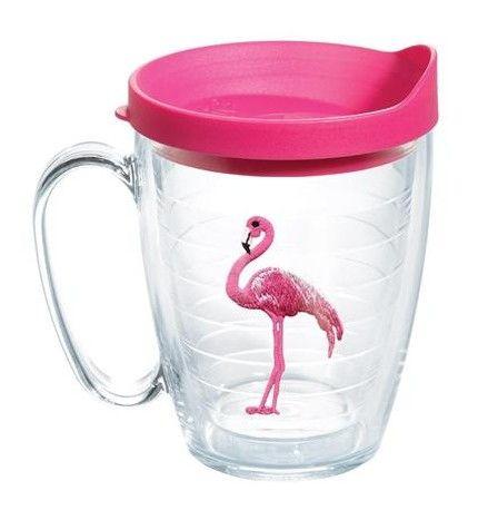 Sun and Surf Flamingo Mug with Lid