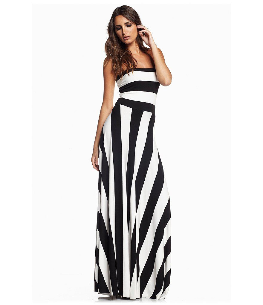 Elan Striped Convertible Strapless Maxi Dress | Fashion ...