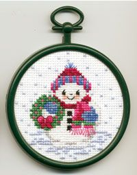 "Snowman 2.89"", Counted Cross Stitch Mini Kit. Kit contains 18-count Aida Fabric, 6 ply cotton floss, needle, chart, frame and easy-to-follow instructions."