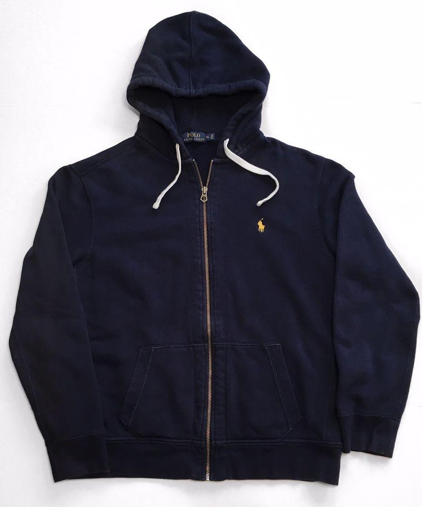 72322746bf24b8 Polo Ralph Lauren Men s Full Zip Hoodie Sweatshirt Navy Blue Yellow Pony  SIze XL  PoloRalphLauren  Hoodie