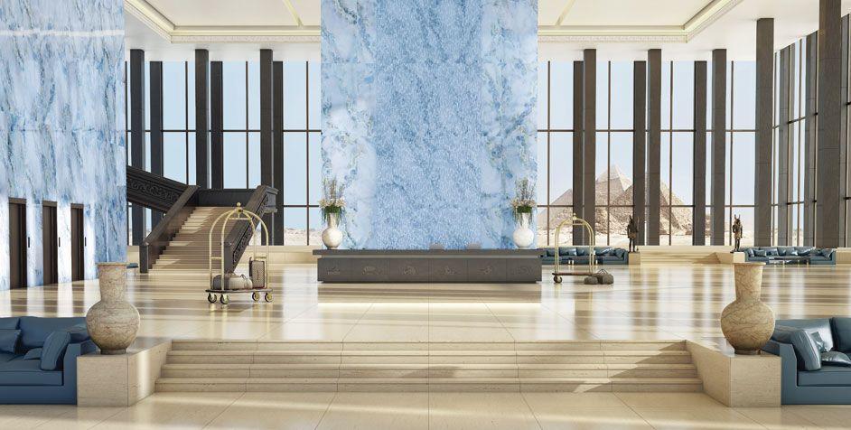 Panel decorativo de pared / de cerámica / liso OPAL SKY-BLUE PETRALUXE