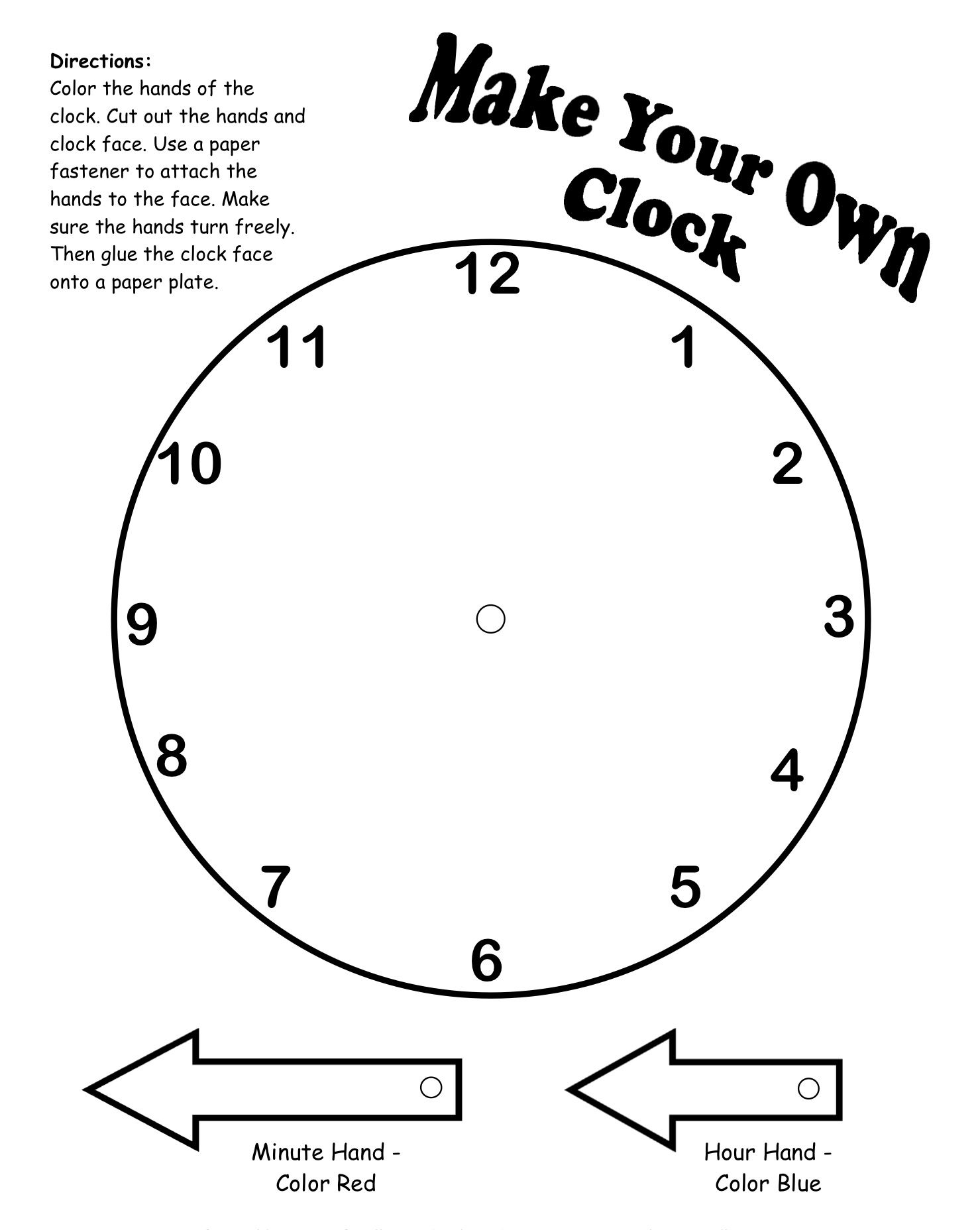 Make Your Own Clock Printable Teaching Math Teaching