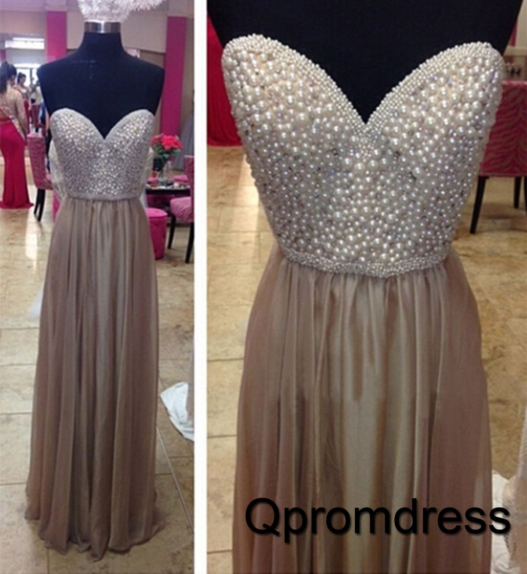 beautiful light gold chiffon long porm dress with pearls on top