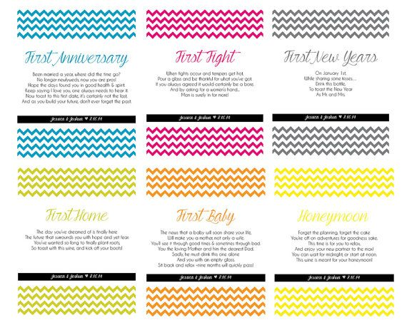 Wine Bottle Labels For First Milestones Anniversary Poems Unique Bridal Shower Gift
