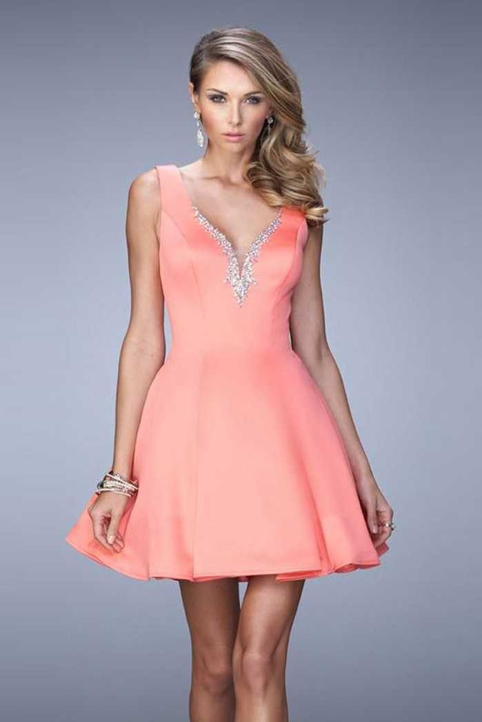 La Femme Beaded Deep V Open Back Light Coral 22009 Homecoming Dresses