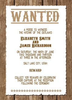 Wanted Western Wedding Invitation Free Template Printableinvitati - Wedding invitation templates: western wedding invitation templates