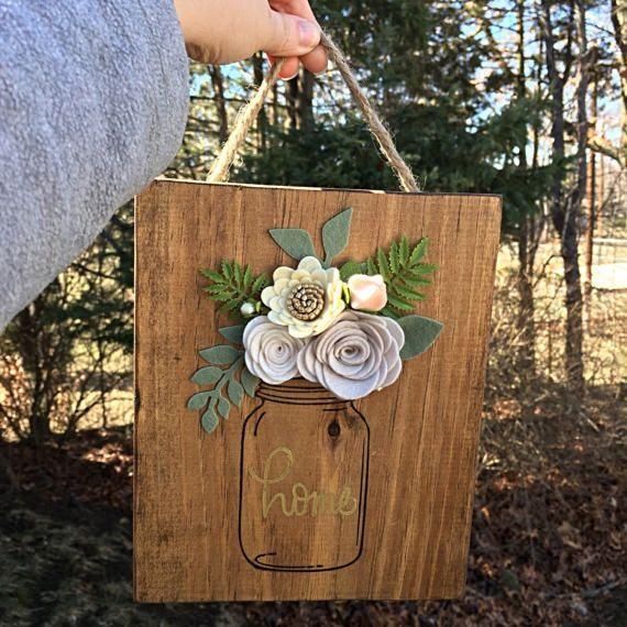 Made to order  Wood Felt Floral Mason Jar Sign #masonjardiy