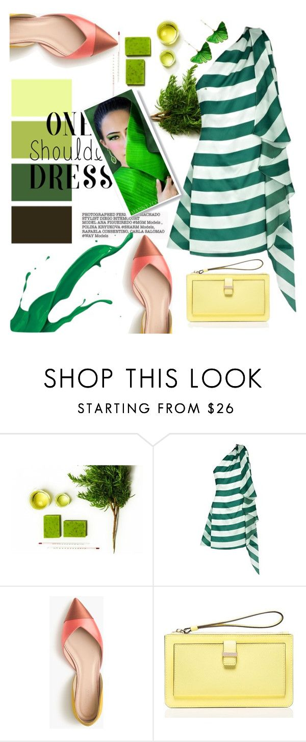 """""""Party style: One shoulder dress"""" by klementina-kuzma ❤ liked on Polyvore featuring Paper London, J.Crew, Kate Spade and Aurélie Bidermann"""
