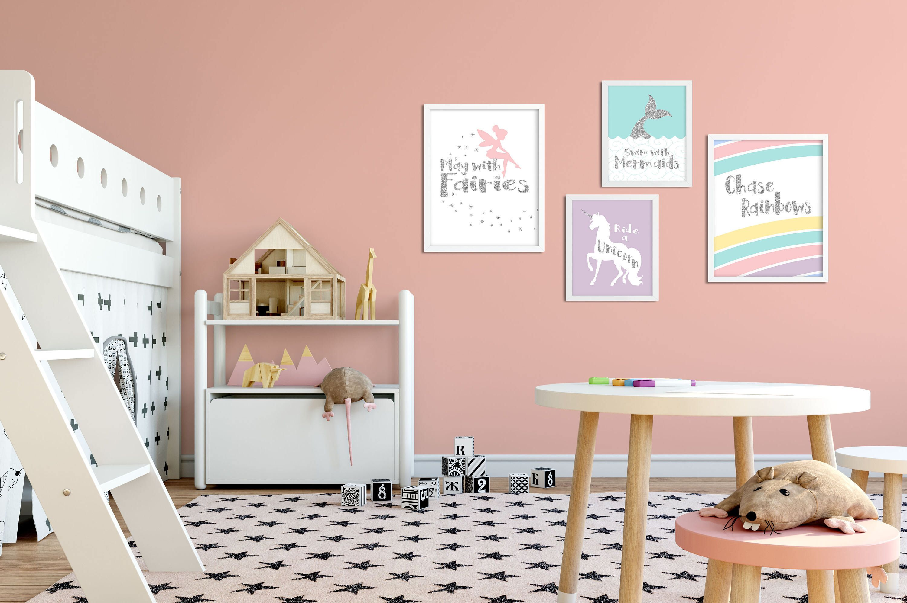 Childrens Prints, Playroom Wall Art Set Of 4 Prints Unicorn