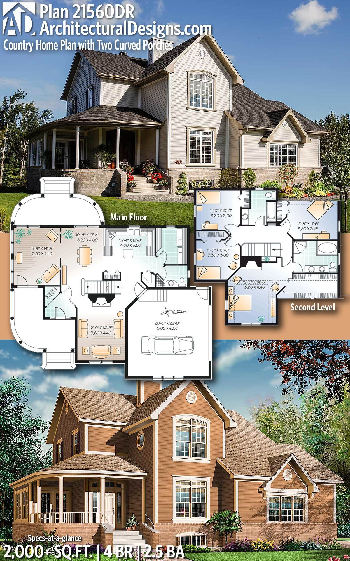 Plan 21560dr Country Home Plan With Two Curved Porches Country House Plans House Plans House Plans Farmhouse
