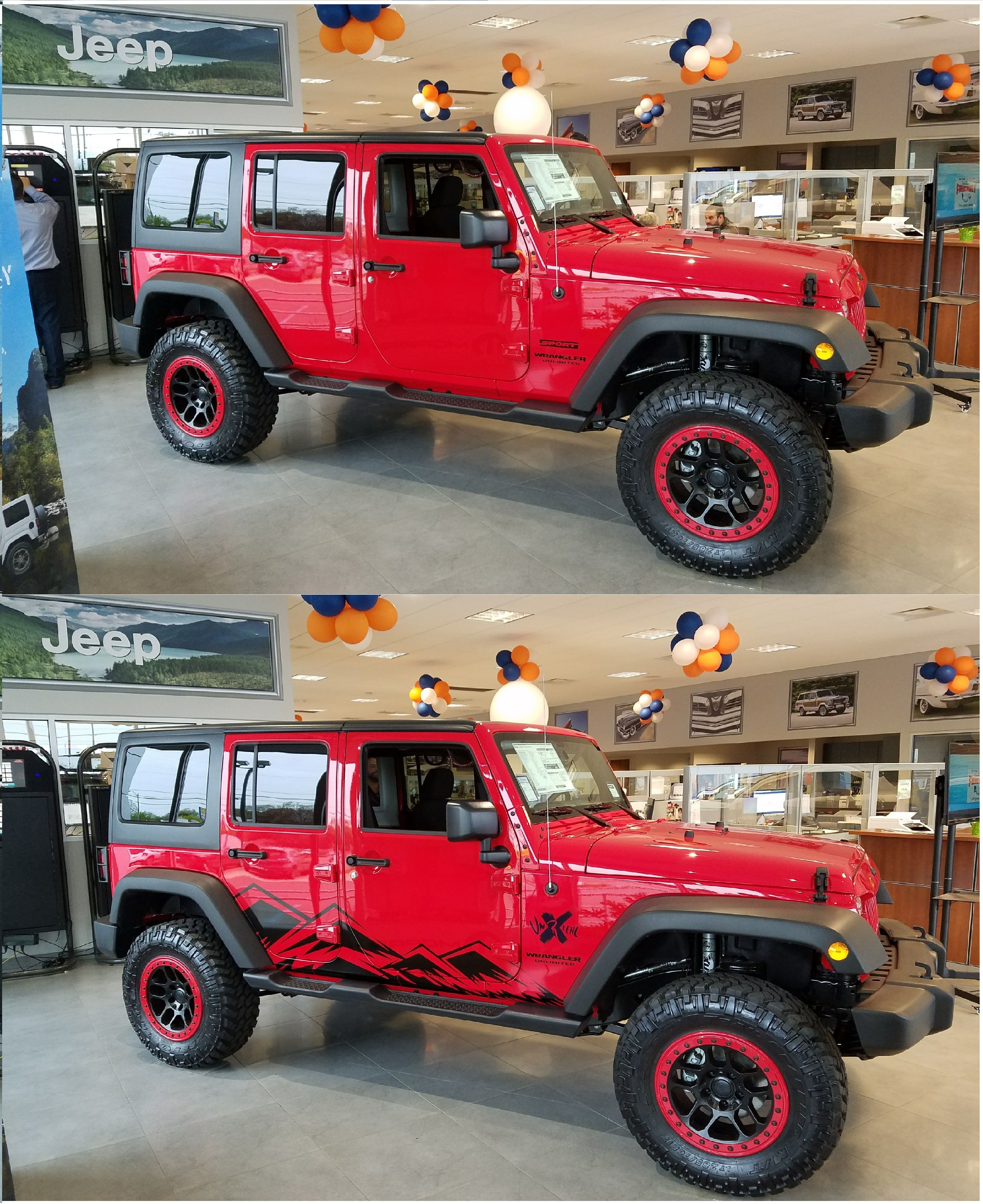 Custom mountain graphic in gloss black on a 2017 jeep