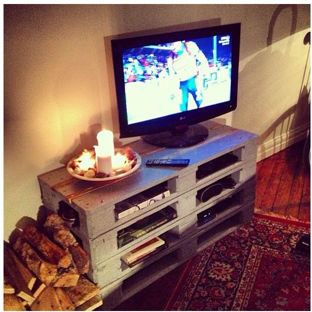 My brother and i built this awesome tvtable/firewood stand. Surprisingly easy and doesn't look too shabby! #pallets