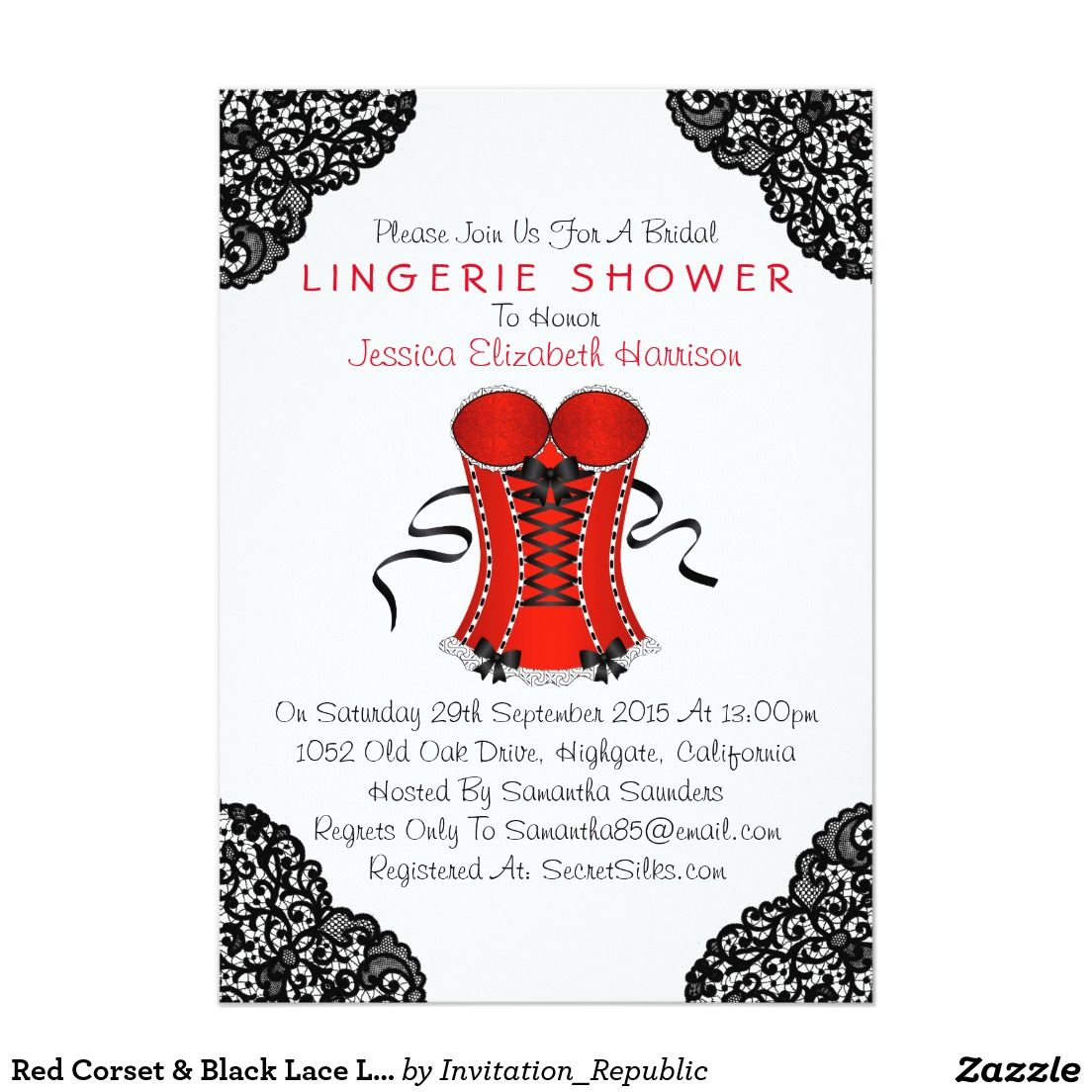 Red Corset & Black Lace Lingerie Shower Invitation | Bachelorette ...