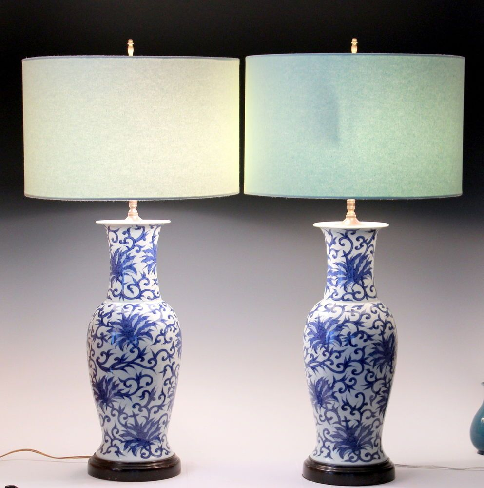 Pair old vintage japanese chinese blue white lotus scroll pair old vintage japanese chinese blue white lotus scroll porcelain vase lamps reviewsmspy