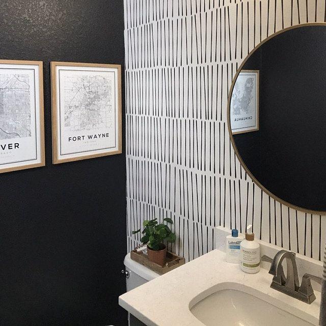 Modern Hand Drawn Black Lines Wallpaper Sophisticated Peel Etsy Powder Room Decor Powder Room Wallpaper Lines Wallpaper