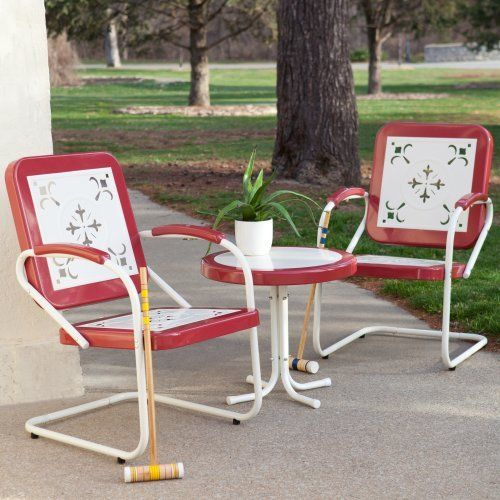 coral coast paradise cove retro 3 pc metal arm chair chat set