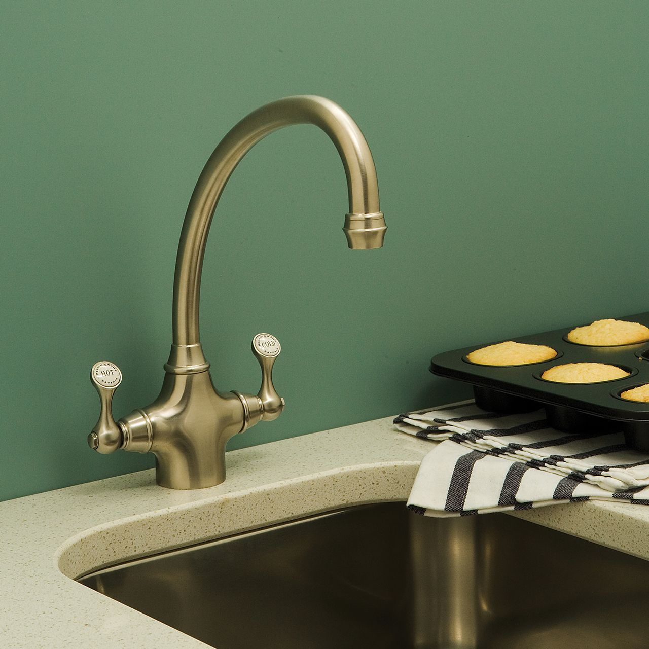 Perrin & Rowe Etruscan Sink Mixer in the Pewter finish, supplied ...