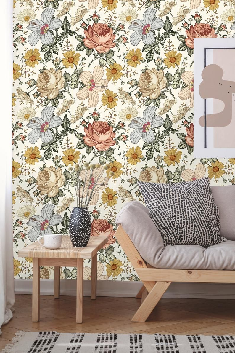 Removable Wallpaper | Peel and Stick Floral Wallpaper ...