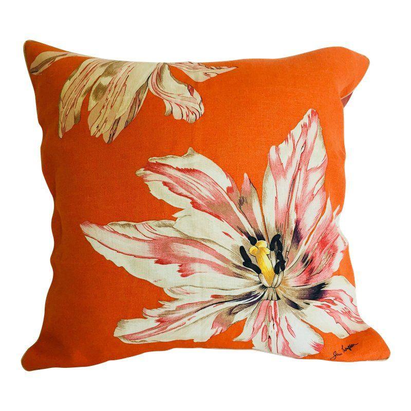 Handmade Orange Folk Flowers on White 100/% Cotton Cushion Cover.Various sizes