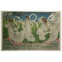 Rare Italian Art Nouveau Period Poster by Leonardo Bistolfi, 1902