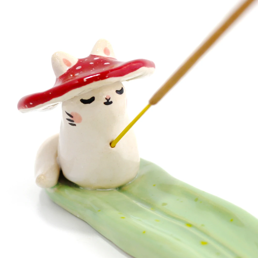 Ceramic Mushroom Kitty Incense Burner 1067 Ponypeople Ceramic Incense Holder Ceramics Incense