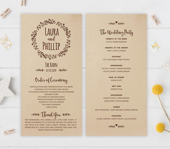 Rustic wreath wedding programs will be perfect for your barn or