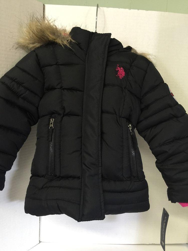 U.S. Polo Girls Toddler Coat Size 2T Black Detach Hood Faux Fur ...