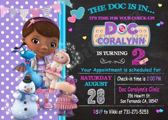 image about Doc Mcstuffins Printable Invitations identified as Document McStuffins Invitation Document McStuffins Birthday Document