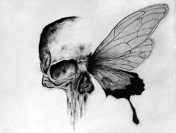 Black White Skull Butterfly Painting Print By