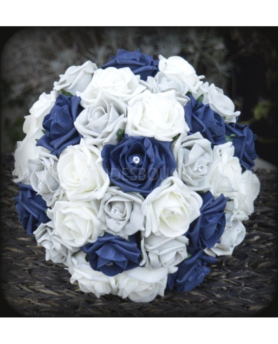 Navy Silver Rose Bridal Bouquet Of Blue And Grey Artificial Roses Brides