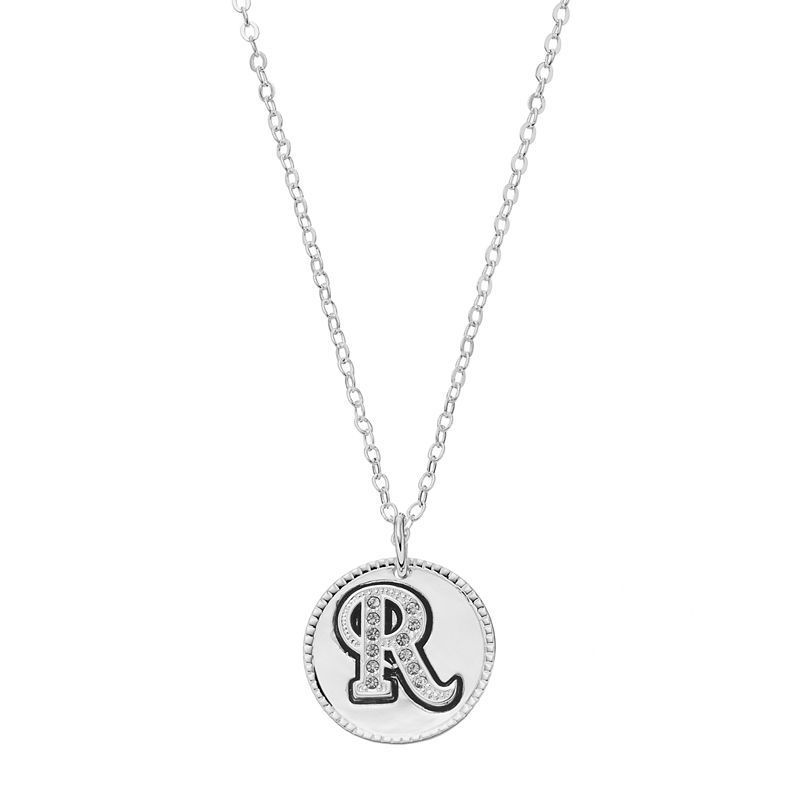 Silver plated crystal initial disc pendant necklace womens grey silver plated crystal initial disc pendant necklace womens grey aloadofball Image collections