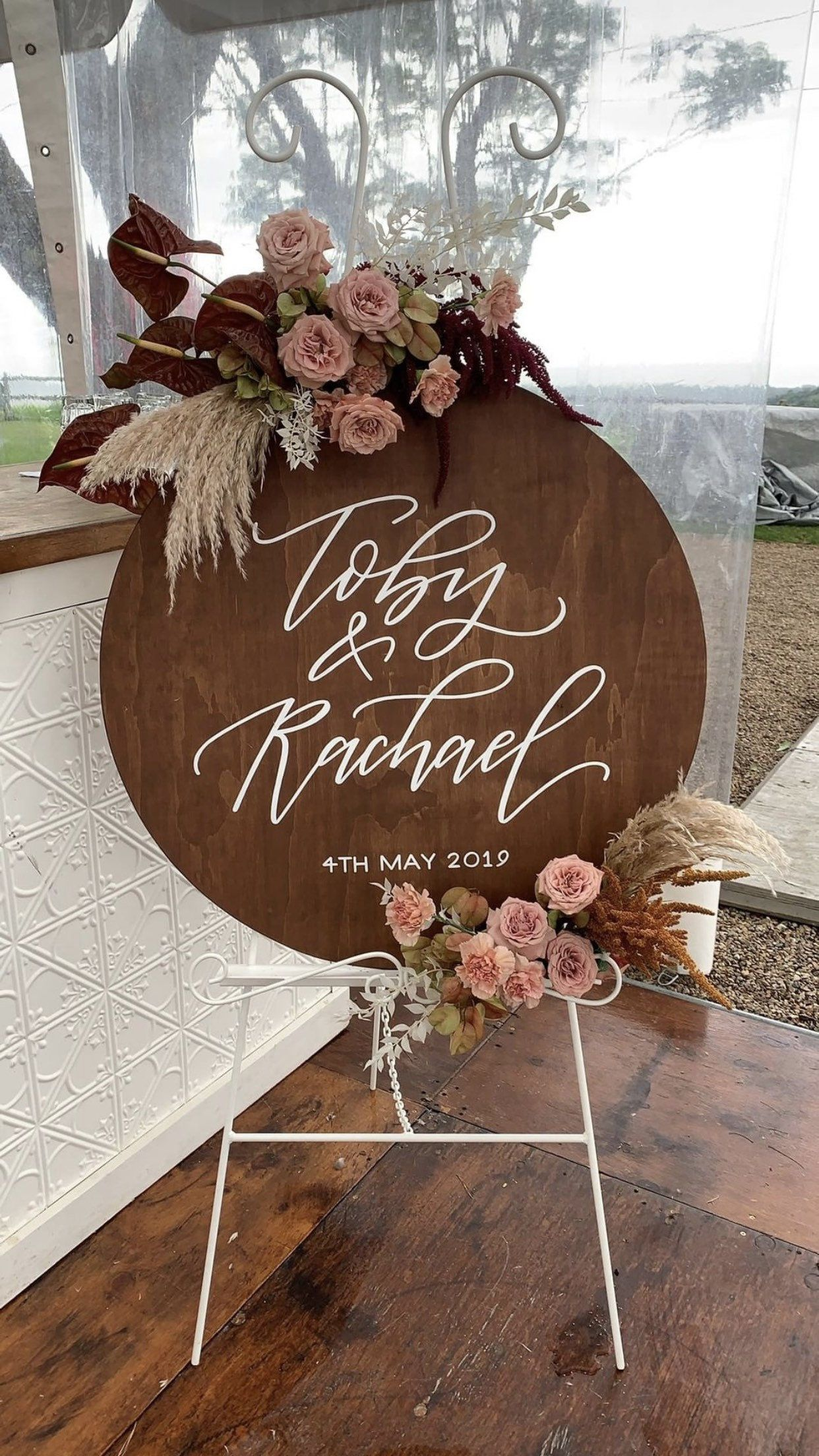 Round Wedding Wooden Welcome Sign Circle Wedding Reception Sign Personalised Custom Wedding Engagement Sign Willow And Ink Wedding Reception Signs Wedding Welcome Signs Engagement Signs