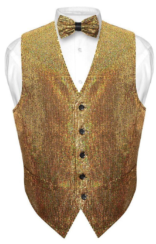 8d43bce5b75c Men's SEQUIN Design Dress Vest Bow Tie GOLD Color BOWTie Set | Clothing,  Shoes & Accessories, Men's Clothing, Vests | eBay!