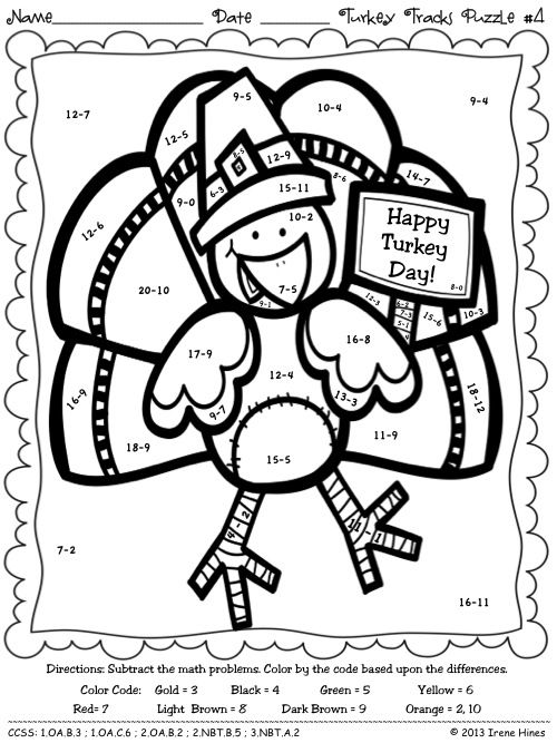 Turkey Tracks Feather Facts Math Printables Color By The Code Puzzles Thanksgiving Math Coloring Thanksgiving Math Turkey Math Turkey math worksheet