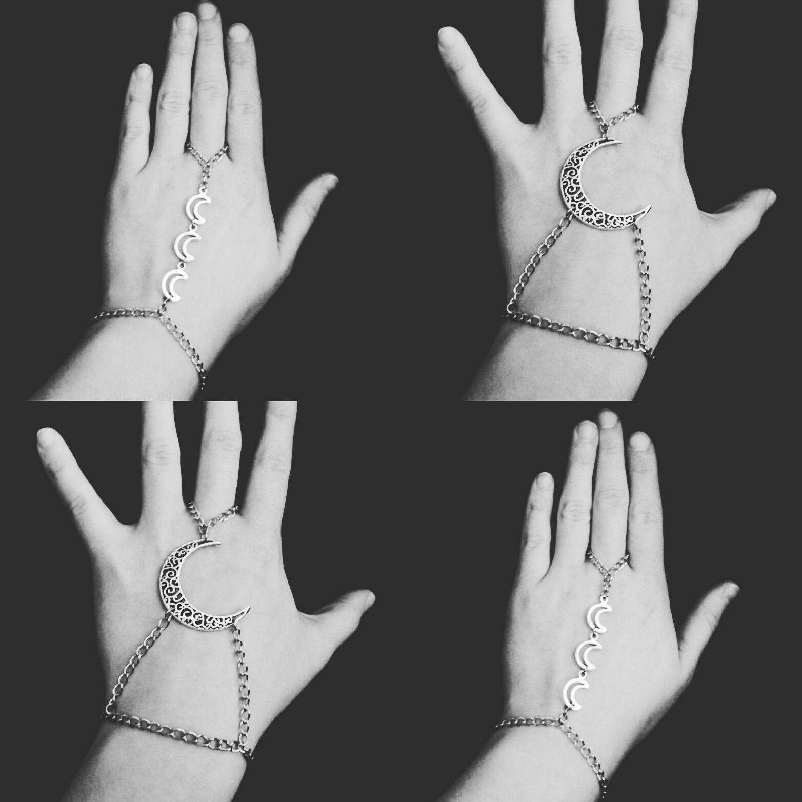 nu goth hand chains restocked☽www.etsy..com/shop/OfStarsAndWine