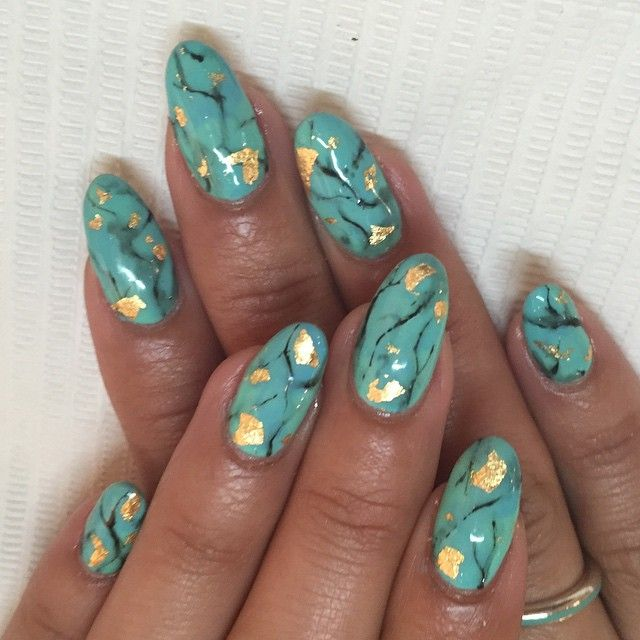 Turquoise stone effect for Lili  #nails #nailart #gelnails #turquoise #sparklesf #handpainted