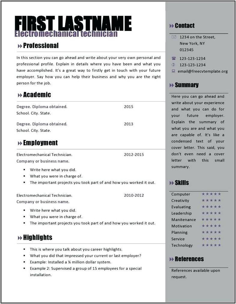 Free Resume Templates Word Modern Resume Resume