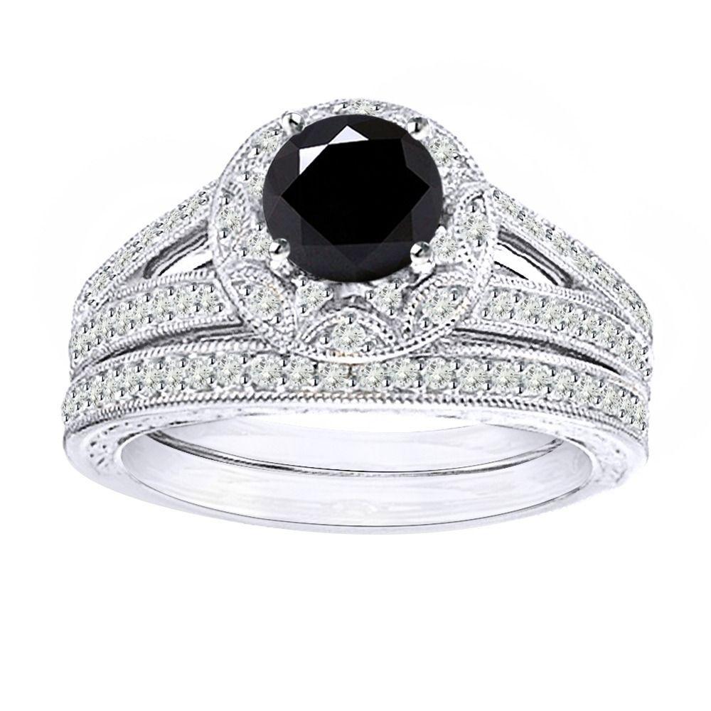 4.75 Ct Black Moissanite Vintage-Style Bridal Set Ring In Sterling Silver#black #bridal #moissanite #ring #set #silver #sterling #style #vintage #vintagestyle