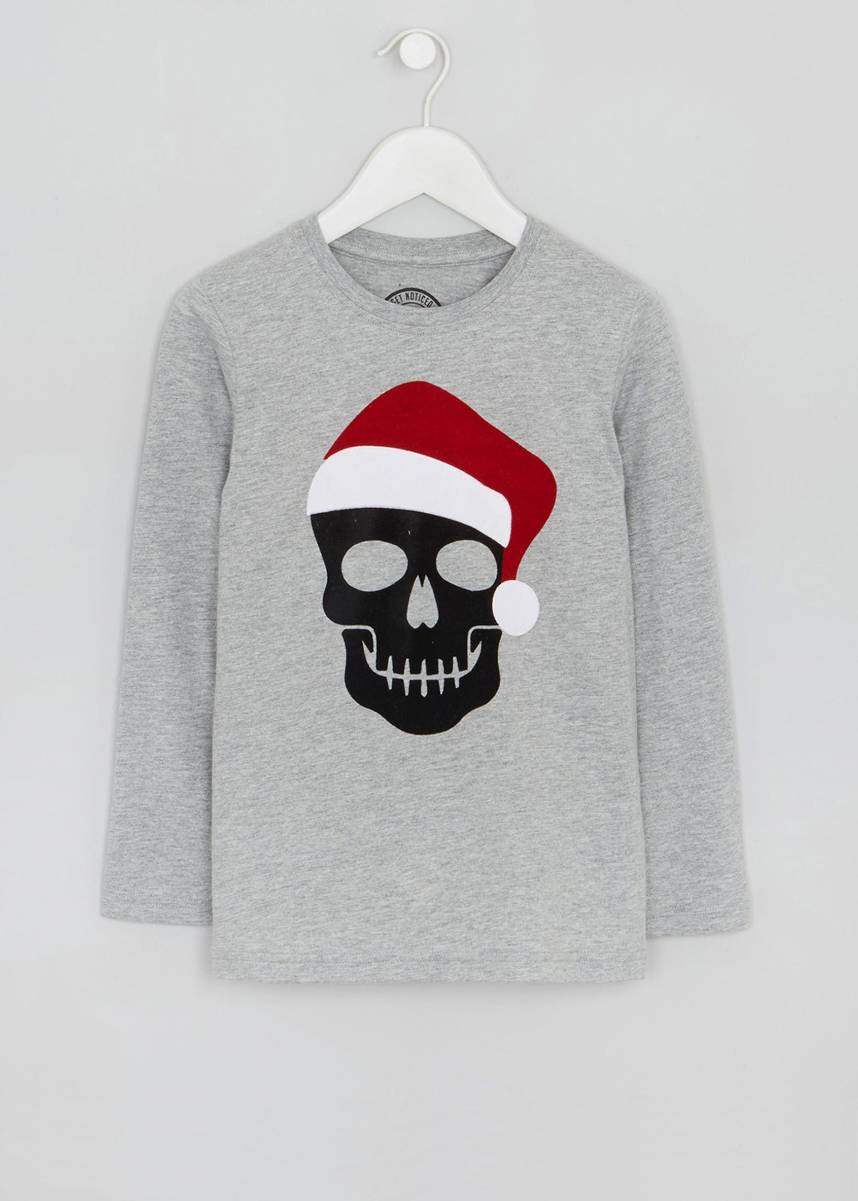 Boys santa skull christmas tshirt 413yrs grey with