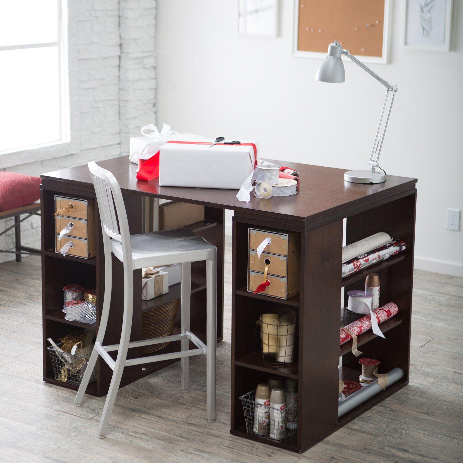 Sullivan Counter Height Craft Table Espresso Www Hayneedle Com Counter Height Desk Craft Table Craft Desk