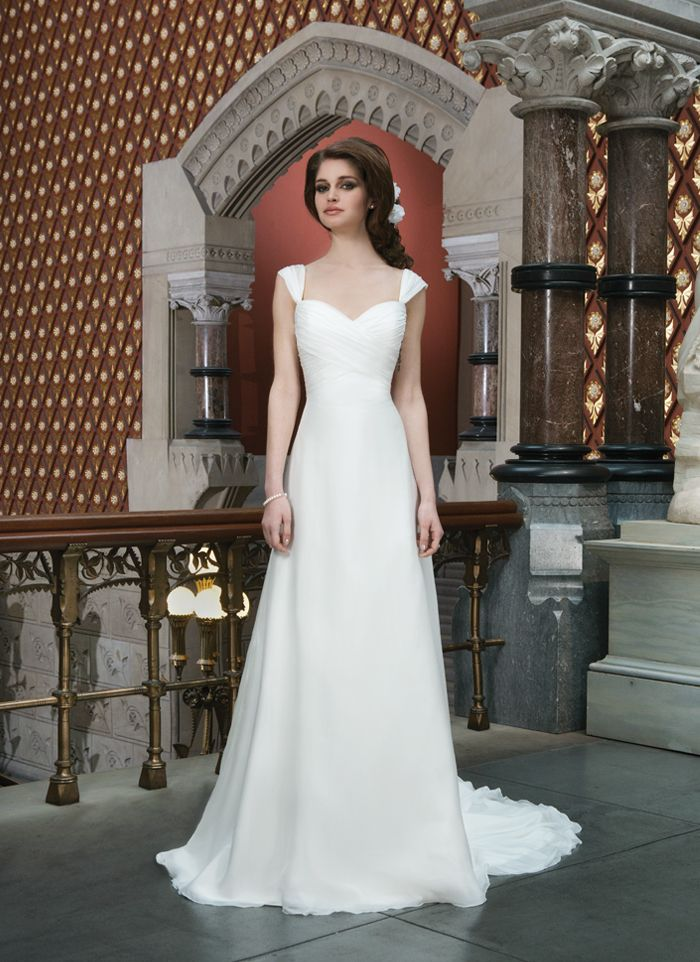The stunning sweetheart neck cap sleeve chiffon floor-length chapel train  column wedding dress with the criss-cross ruches bodice and the natural  skirt with ... 4ca3c16bfb15