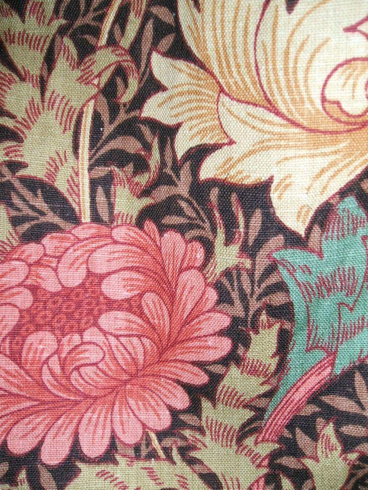 William Morris Sanderson Cotton Sateen Fabric Chrysanthemum Brown Cushion Cover